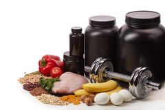 体育营养和健身设备 库存照片