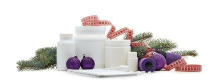 体育营养和圣诞装饰 图库摄影