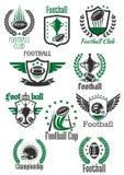 体育设计的橄榄球减速火箭的标志 免版税库存图片