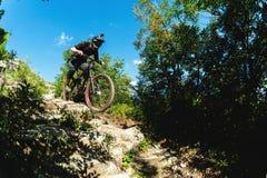 体育运动 一辆自行车的一个骑自行车者有一个登山车的在森林里 免版税图库摄影