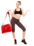 体育运动 显示拷贝空间的运动服的健身运动的女孩 免版税库存图片