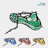 体育鞋子的标志 跑的商标 运动鞋在四种颜色绿色,蓝色,红色和黄色被提出 抽象派图画 库存照片