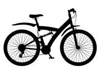 体育骑自行车与后方缓冲器黑色剪影vecto 库存图片