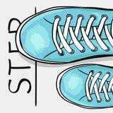 体育给体育鞋子做广告的五颜六色的海报 采取下一个步骤 一张诱导海报 向量 免版税库存照片