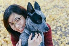 体贴拥抱和看她的宠物澳大利亚人小狗的妇女 免版税库存照片