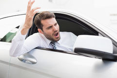 体验路愤怒的商人 库存图片