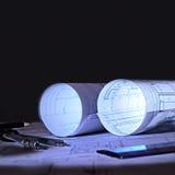 体系结构计划一个办公室在黎明 免版税库存图片