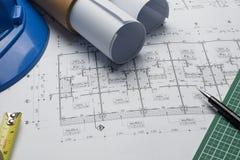 体系结构计划与图纸卷的项目图画 免版税图库摄影