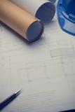 体系结构计划与图纸卷的项目图画 库存图片