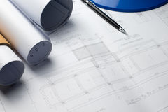 体系结构计划与图纸卷的项目图画 图库摄影