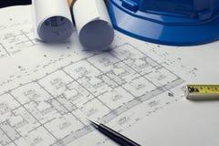 体系结构计划与图纸卷的项目图画 免版税库存图片