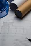 体系结构计划与图纸卷的项目图画 免版税库存照片
