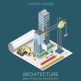 体系结构计划平的3d等量传染媒介:摩天大楼大厦 免版税库存照片