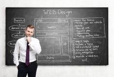体贴的人和网络设计在黑板 免版税图库摄影