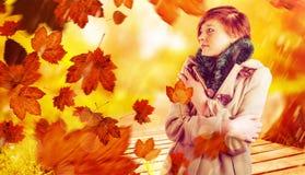 体贴的妇女的综合图象冬天外套的 图库摄影