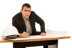 体贴的年轻建筑师或工程师 图库摄影