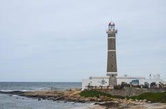 何塞伊廖齐` s灯塔 乌拉圭海岸 图库摄影