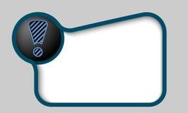 任何文本的蓝色正文框与惊叹号 免版税库存照片