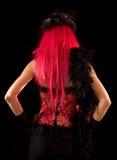余兴节目束腰女孩粉红色背面图 免版税库存照片