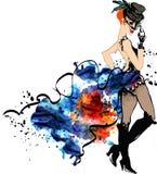 余兴节目舞蹈家 水彩飞溅 能装于罐中 女孩 库存照片