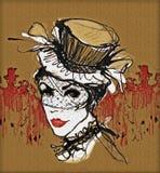 余兴节目舞蹈家 法国减速火箭的妇女 高黑帽会议的葡萄酒妇女 余兴节目样式 能装于罐中 库存例证