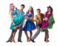 余兴节目舞蹈演员小组跳舞 查出在全长的空白背景 免版税库存照片