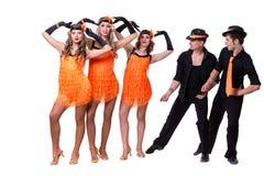 余兴节目舞蹈演员小组跳舞 查出在全长的空白背景 免版税库存图片