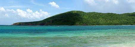佛拉明柯舞曲海滩Culebra全景 免版税库存图片