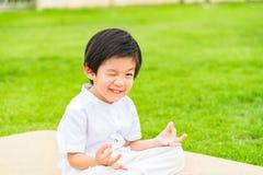 佛教亚裔男孩 库存照片