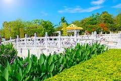佛教公园、露天场所、许多雕象和美好的地方在三亚海岛上  免版税库存照片