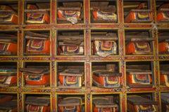 佛教圣经在一个修道院里在Pangboche 免版税图库摄影