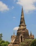 佛教寺庙上面在Ayuthaya,泰国 库存图片