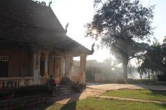 佛教寺庙在巴色,老挝 库存照片