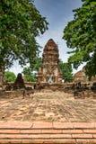 佛教寺庙复杂Wat Mahathat在阿尤特拉利夫雷斯,泰国 库存照片