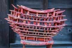 佛教寺庙木制品片断等候恢复,今池的 免版税图库摄影
