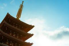 佛教寺庙的Senso籍著名五层塔在浅草,东京,日本 库存照片