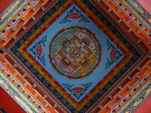 佛教寺庙顶面墙壁在Shyala -尼泊尔附近的 免版税库存照片