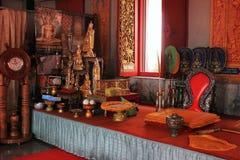 佛教寺庙-内部,泰国 免版税库存图片