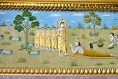 佛教徒里面luang绘画prabang寺庙 库存照片
