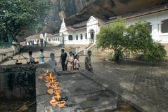 佛教徒`洞寺庙在斯里兰卡的Dambulla 免版税库存图片