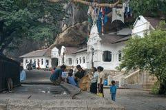 佛教徒`洞寺庙在斯里兰卡的Dambulla 免版税库存照片