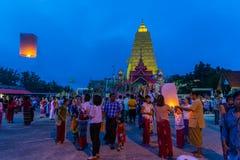 佛教星期一人民庆祝月优点节日 库存图片