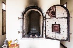 佛教的火葬礼仪精神在Thailan寺庙的  库存照片