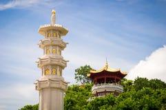 佛教石柱子在三亚南山文化旅游业区域 免版税库存图片