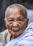 佛教老妇人画象 免版税库存照片