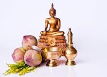 佛教设备配受奖赏的礼拜式 免版税库存照片
