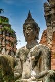 佛教雕象在Wat Mahathat在阿尤特拉利夫雷斯,泰国 库存图片
