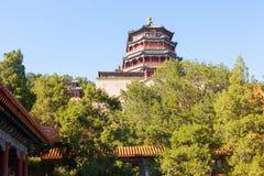 佛教香火的颐和园场面亭子 库存照片