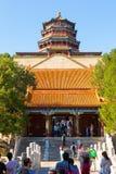 佛教香火的颐和园场面亭子 免版税库存照片