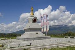 佛教stupa索非亚看法在撤退中心Plana - Diamondway佛教近保加利亚Vitosha、Rila、Pirin和巴尔干 免版税库存图片